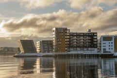 在Tromso挪威的江边大厦 免版税库存照片