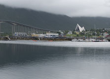 Tromso Arctic Cathedral Church in Norway Stock Image