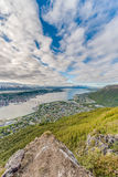 Tromso as seen from Mount Storsteinen, Norway. Royalty Free Stock Photography