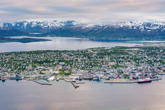 Tromso as seen from Mount Storsteinen, Norway. Stock Photo