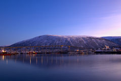 Tromso Bridge. Panoramic view on a Tromso Bridge and mountain. Tromse, Norway Stock Image