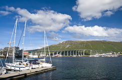 Tromso bridge and marina Royalty Free Stock Images