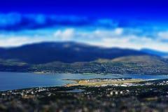 Tromso bridge micro toy landscape background Stock Photo