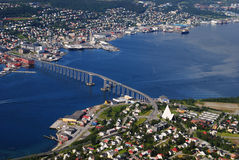 Tromso city. Aerial view of the city of Tromso, Troms county, Norway Royalty Free Stock Image