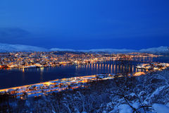 Tromso City at Night Royalty Free Stock Images