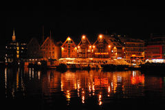 Tromso city by night Stock Photography