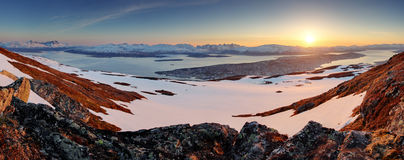 Tromso city - panorama at sunset Royalty Free Stock Photos