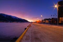 Tromso city at twilight. Scenic view of street scene at twilight in Tromso city, Norway Stock Photography
