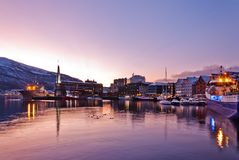 Tromso City Waterfront at Night royalty free stock images