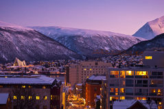 Tromso Cityscape. Aerial view of Tromso Cityscape at dusk Norway Stock Image