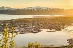 Tromso come visto dal supporto Storsteinen, Norvegia Fotografia Stock Libera da Diritti