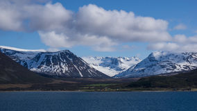 Tromso Fjord. Snow covered mountains in Tromso fjord,Norway Stock Images
