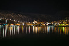 Tromso Harbour and Arctic Cathedral at night Royalty Free Stock Photos