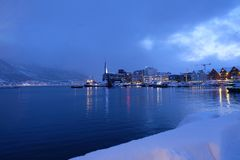 Tromso harbour in daylight, winter royalty free stock photo