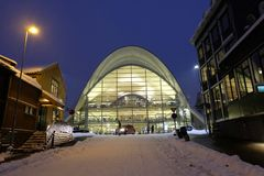 Tromso harbour library and lights stock images