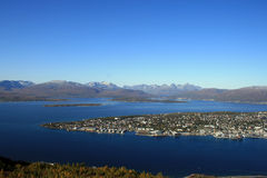 Tromso from the hill. A beautiful view of Tromso from the hill Stock Images