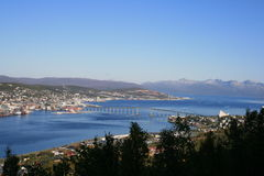 Tromso from the hill. A beautiful view of Tromso from the hill Stock Photos