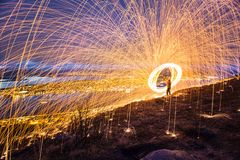 Tromso light painting sparks spinning Norway Stock Photos