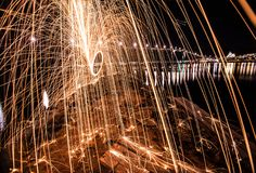 Tromso light painting sparks spinning Norway Royalty Free Stock Images