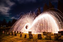 Tromso light painting sparks spinning Norway Royalty Free Stock Photo
