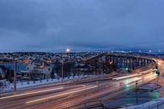 Tromso met de Tromso-Brug Stock Afbeelding