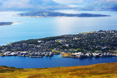Tromso micro toy landscape background Royalty Free Stock Photography