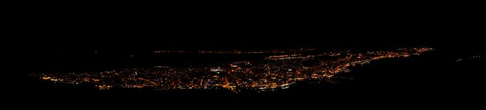 Tromso by night, norway stock images