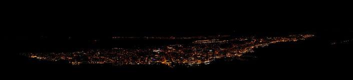Tromso nocą, Norway obrazy stock