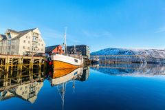 Tromso in Northern Norway. Beautiful town of Tromso in Northern Norway royalty free stock photography