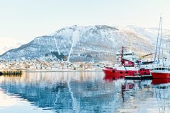 Tromso in Northern Norway. Beautiful winter landscape of snow covered town Tromso in Northern Norway Stock Image