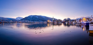 Tromso, Norway. Panoramic view on a mountain from old Tromso, Norway Royalty Free Stock Photography