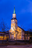 Tromso Norway. Tromso Domkirke Cathedral by night  Norway Scandinavia Royalty Free Stock Photos