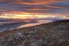 Tromso, Norway during midnight sun stock images