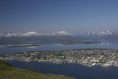 Tromso, Norway. View  of the city from top of cable car Royalty Free Stock Photo