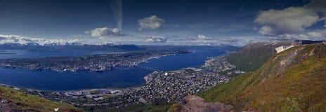 Tromso panorama. Stitched panorama photo of Tromso city, northern Norway Royalty Free Stock Photos