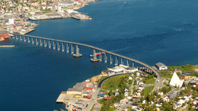 Tromso's bridge. The bridge connecting the Tromsoe's island with the mainland royalty free stock image