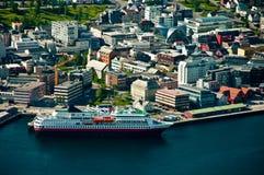 Tromso stad i Norge Arkivbild