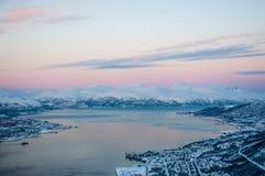 Tromso sunset. Panoramic view of Tromso at sunset, Norway Royalty Free Stock Photos