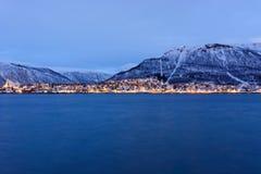 Tromso tijdens de Polaire nacht Royalty-vrije Stock Afbeelding