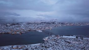 Tromso town in winter. Aerial view to the city of Tromso in winter from above, Northern Norway stock video