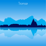 Tromso Vector skyline. Tromso Norway Vector detailed skyline with reflexion Royalty Free Stock Photography