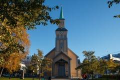 Tromsokathedraal, Noorwegen Kathedraal van Tromso stock foto