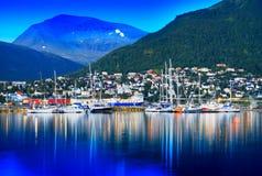 Tromsostad met jachtenachtergrond Royalty-vrije Stock Afbeelding