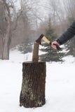 Tronçon en bois de bois de chauffage de hache Photo stock