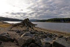 Tronçon et pierres d'arbre dans le lit de rivière Image stock