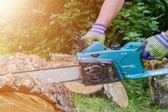 tronçonneuse Tronçonneuse en bois de coupe de mouvement Le bois de coupe d'homme avec a vu La poussière et mouvements Plan rappro Image libre de droits