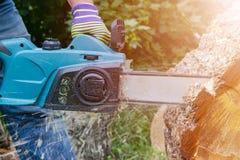 tronçonneuse Tronçonneuse en bois de coupe de mouvement Le bois de coupe d'homme avec a vu La poussière et mouvements Plan rappro Image stock