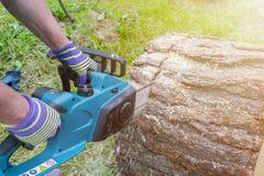 tronçonneuse Tronçonneuse en bois de coupe de mouvement Le bois de coupe d'homme avec a vu La poussière et mouvements Plan rappro Photo libre de droits