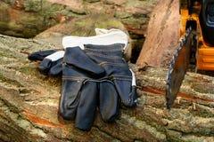 Tronçonneuse - gants protecteurs Photographie stock libre de droits