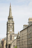 Tron柯克教会和皇家英里街道从大教堂屋顶;Edin 免版税图库摄影